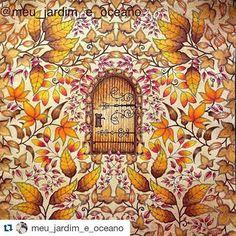 Cores de outono by  @meu_jardim_e_oceano   #jardimsecreto #secretgarden #desenhoscolorir #florestaencantada #johannabasford #coloringbook