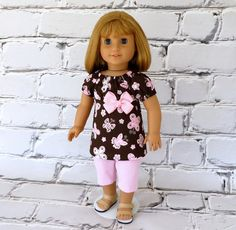 American Girl Doll Clothes Peasant Top and Leggings in Brown and Pink - Shirt and Pants. Cute outfit