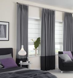 Blue with brown trim on bottom//Custom Drapery from The Shade Store Two Tone Curtains, Bedroom Curtains With Blinds, Cool Curtains, High Curtains, Grey Curtains, Window Blinds, Window Sill, Contemporary Windows, Contemporary Curtains