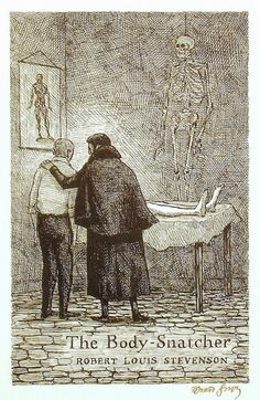 The Body Snatcher by Robert Louis Stevenson is another great story to be read in October. Edward Gorey created this illustration in Edward Gorey, Spooky Scary, Creepy, John Kenn, Horror Themes, Ink Pen Drawings, Ink Illustrations, Macabre, Dark Art