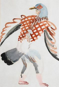 ✽ duncan grant - 'costume design from the cambridge production of aristophanes 'the birds' - 1923 - watercolour - mutualart.com