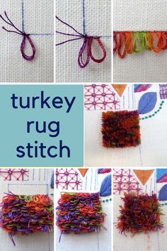 Hand embroidery stitch tutorials, step by step for basic stitches and the more advanced | hand embroidery stitches | turkey rug stitch embroidery | beginner hand embroidery | hand embroidery tutorials | Hand Embroidery Designs | hand embroidery techniques | turkey work embroidery tutorial | needlework stitches | needlework stitches tutorials | needlework stitches simple | free embroidery stitch sampler Basic Hand Embroidery Stitches, Diy Embroidery Shirt, Etsy Embroidery, Hand Embroidery Projects, Hand Embroidery Flowers, Simple Embroidery, Embroidery Hoop Art, Hand Embroidery Patterns, Modern Embroidery