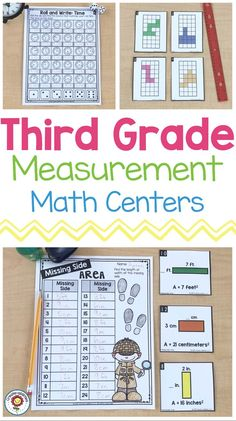 This pack is 290 pages of measurement, telling time, and graphing math centers for third grade. There are 25 hands-on games and center activities. Each print and go station is tailored to the needs of your third grade students and can easily be differentiated. Many of the centers have extension or variation activities written on the bottom as well. It also includes a version with Australian/UK spelling and metric-only measurements only. {3rd graders, activity, printables, area, perimeter} Activity Centers, Math Centers, 3rd Grade Classroom, Classroom Ideas, Math Measurement, Telling Time, Elementary Math, Teaching Math, Third Grade
