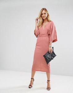 ASOS TALL Kimono Plunge Midi Dress