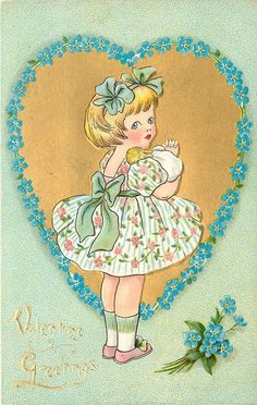 VALENTINE GREETINGS  girl in flowery summer dress in front of gilt heart surrounded by forget-me-nots