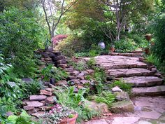 Waterfall and Patio Area (Oliver/Scott garden, Florence, Alabama)