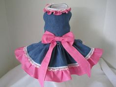 Dog Dress  XS  Denim with Pink and White by NinasCoutureCloset, $40.00