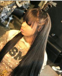 Human hair Long hair with bang,Black Girl hairstyles and more... Straight Hairstyles, Girl Hairstyles, Black Girl Weave Hairstyles, Popular Hairstyles, Hairstyles With Bangs, Rainbow Hairstyles, American Hairstyles, Gorgeous Hairstyles, Protective Hairstyles