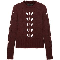 Isabel MarantIlia Cutout Pointelle-knit Sweater (7.005 ARS) ❤ liked on Polyvore featuring tops, sweaters, isabel marant, burgundy, red sweater, isabel marant sweater, cut out sweater, burgundy sweater and isabel marant top