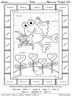 Fabulous February Fun ~ Winter Math Printables Color By The Code Puzzles
