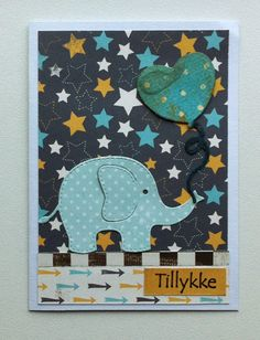Tag small card - Kid birthday card with elephant & heart shaped balloon Rayher elephant die - til og fra kort - fødselsdag - Carta Bella: Boy oh Boy - paper pad