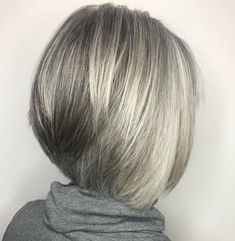 60 Gorgeous Gray Hair Styles - Straight Inverted Gray Bob For Fine Hair - Grey Hair Styles For Women, Medium Hair Styles, Curly Hair Styles, Gray Hair Women, Curly Hair Men, Grey White Hair, Short Grey Hair, Silver Grey Hair, Short Hair Cuts