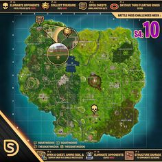 fortnite map cheat sheet season 4 week 10 challenges ps4 playstation pc gamer - coffre map fortnite
