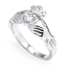 10k White Gold 0.19 Carat Diamond Solitaire Claddagh Engagement Ring