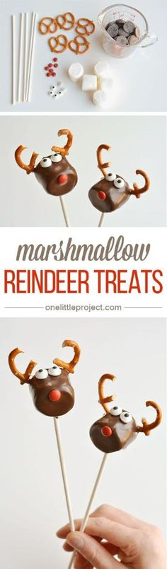These chocolate covered marshmallow reindeer are so cute and SO EASY! And if you use dark chocolate, they actually taste amazing too! Simple and adorable! by barbara.stone