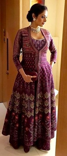 The gorgeous Sridevi looks divine in EpicLove AnitaDongre and Pinkcity by Anita Dongre jewellery Women jacket over women traditional suit Long jacket over suit Indian Gowns, Indian Attire, Pakistani Dresses, Indian Wear, Indian Outfits, Kurta Designs, Blouse Designs, Anarkali Dress, Lehenga
