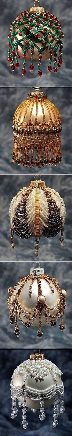 Beauty at its best: Bead Weaving on Christmas Tree Ball Ornament