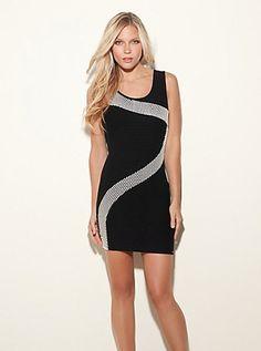 Sleeveless Checkerboard Dress (Jet Black Multi). Guess. $108.00