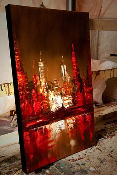 Canvas Art, Modern Wall Art, Stretched, Embellished & Ready-to-Hang Print - Red Sunset - Art by Osnat Abstract City, Abstract Print, Art Sur Toile, City Painting, Painting For Sale, Painting Art, Sunset Art, Red Sunset, Modern Artwork