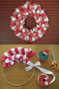 17 DIY Ribbon Wreath : Easy & Step by Step Tutorial Christmas Ribbon Wreath Christmas Gifts For Kids, Christmas Decorations To Make, Holiday Crafts, Christmas Crafts, Christmas Ideas, Christmas Vacation, Valentine Decorations, Christmas Christmas, Handmade Christmas