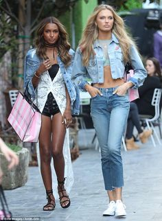 Heavenly! Victoria's Secret Angels Jasmine Tookes (L) andRomee Strijd made sure to turn heads as they stepped out in Hollywood on Wednesday
