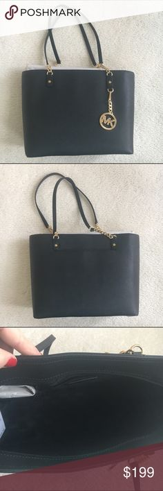 MICHAEL MICHAEL KORS Jet Set tote Black leather with gold tone chain detail . Measures 16 x 10 New! Authentic 🚫trades MICHAEL Michael Kors Bags Totes