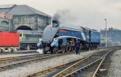 A4 Class 4-6-2 Pacific No. 4498 'Sir Nigel Gresley' At Gateshead Depot (52A) - 'Steam Safari' Railtour - 17th June 1972. Photo by Allan McKever
