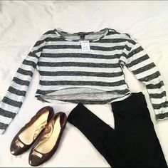 Long Sleeve Striped Crop Top This is a very lightweight knit/sweater type material, hi-lo crop top. It's a loose fit, size small, with alternating light gray and dark grey or black horizontal stripes. Never worn, tags are still on. A cute piece, but has been passed between all the closets in the house and still never gets any use. No Strings Attached Tops Crop Tops