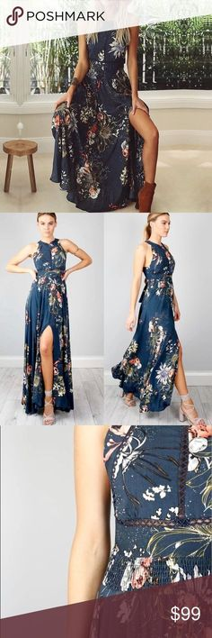 ✨ Open Back Blue Floral Halter Slit Maxi Dress A long, sexy slit, gorgeous blue with a white multicolored floral pattern, a flowy boho cut with romantic crochet insets across the bodice, a halter neckline and a low cut, open cross tie back. This stunning dress is comfortable and versatile. Perfect for everything from a day at the beach to an evening out. Sizes XS, S, M, L, and XL/1X ❌ Sorry, no trades. 758989 a line a-line fairlygirly fairlygirly Dresses Maxi