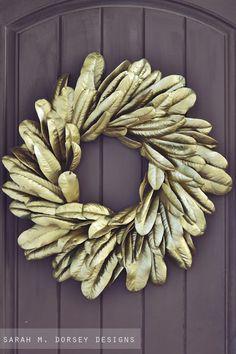 sarah m. dorsey designs: Fall Decor: Gold Magnolia Wreath