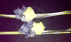 Yellow and grey embellished napkin decorations.  Ribbons to tie napkin in place.  Yellow flower is hand sewed out of chiffon fabric.  Custom ordered for a wedding decoration.  Etsy.com/shop/ILiveToLoveYou  PearlsNGirlsDesign@Gmail.com