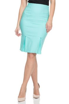 287bb8b19e Voodoo Vixen NICOLE Pencil Skirt With Kick Pleates Green at Inked Boutique.  A slenderizing pencil skirt with a side zipper and kick pleates in the  front and ...