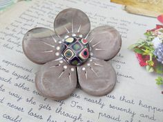 Items similar to Handmade polymer Faux wood polymer OOAK designer flower retro cane brooch. on Etsy How To Make Buttons, Polymer Clay Beads, Wood Design, Flower Designs, Purple, Pink, Carving, Brooch, Colours