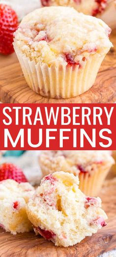 These Strawberry Coffee Cake Muffins are made with sweet fresh berries and buttermilk and topped with a delicious sugar and butter crumble! They're super easy to make and readers have called them the best muffin recipe they've ever had! Strawberry Coffee Cakes, Strawberry Breakfast, Strawberry Recipes, Breakfast Fruit, Strawberry Muffins Healthy, Raspberry Muffins, Breakfast Bake, Breakfast Casserole, Best Breakfast