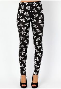 Berka Skull Print Leggings - leggings and hosiery - missguided