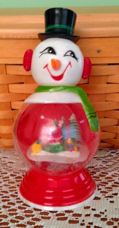 Vintage Snowman Snow Globe Snowman Snow Globe, Christmas Snow Globes, Christmas Bulbs, Vintage Christmas, Holiday Decor, Christmas Light Bulbs, Old Time Christmas, Retro Christmas