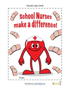 Children's Nurse's Day appreciation cards.  Have children thank their school nurse or pediatric nurse for helping them get well and stay healthy with this free printable Nurse's Day card.
