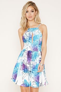 Forever 21 Tiger Mist Floral Print Dress $99 : This knit dress by Tiger Mist™ features a watercolor floral print with adjustable cami straps, a high square neckline, a slit on the bust, a pleated skirt, and an exposed back zipper.