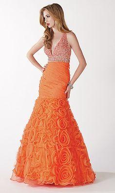 straps mermaid  Orange Dress #2dayslook #jamesfaith712 #OrangeDress  www.2dayslook.com