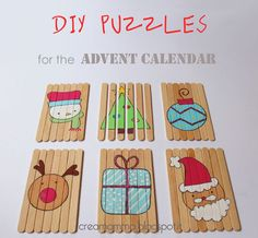 Advent Calendar Gifts: DIY puzzles with popsicle sticks # Popsicle Stick Christmas Crafts, Popsicle Sticks, Craft Stick Crafts, Crafts For Teens, Diy For Kids, Crafts For Kids, Christmas Countdown, Christmas Diy, Advent Calendar Gifts