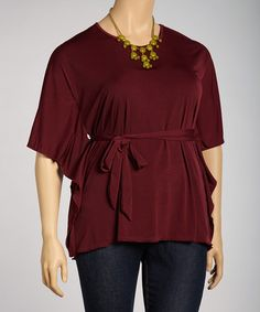 Take a look at this Burgundy Woven Angel-Sleeve Top - Plus by Yummy on #zulily today!