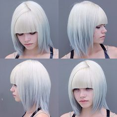 platinum to light grey ombré with blunt bangs.