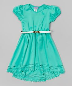 Another great find on #zulily! Mint Belted Cap-Sleeve Dress - Girls by Maya Fashion #zulilyfinds