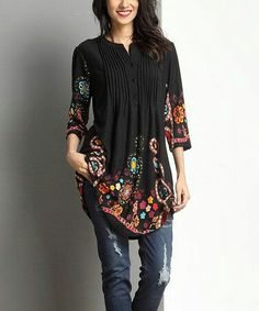Round neck long printed tunic