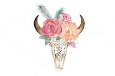 Watercolor Floral Skull Bull by Natikka Art on @creativemarket