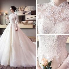 Super Ideas For Wedding Dresses High Neck Ball Gown Lace Applique Western Wedding Dresses, Wedding Dresses 2018, Princess Wedding Dresses, Bridal Dresses, Modest Wedding, Gown Wedding, Lace Wedding, Wedding Flowers, Wedding Dress Preservation