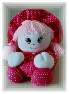 Boneca de pano tipo fuxico na cor Pink...cabelos de lã rosa bebê...