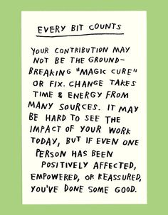 Every bit counts.