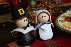Several fun and easy crafts for kids and seniors for Thanksgiving including this cute Pilgrim couple