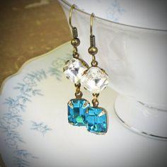 Teal Blue Rhinestone Earrings - pretty